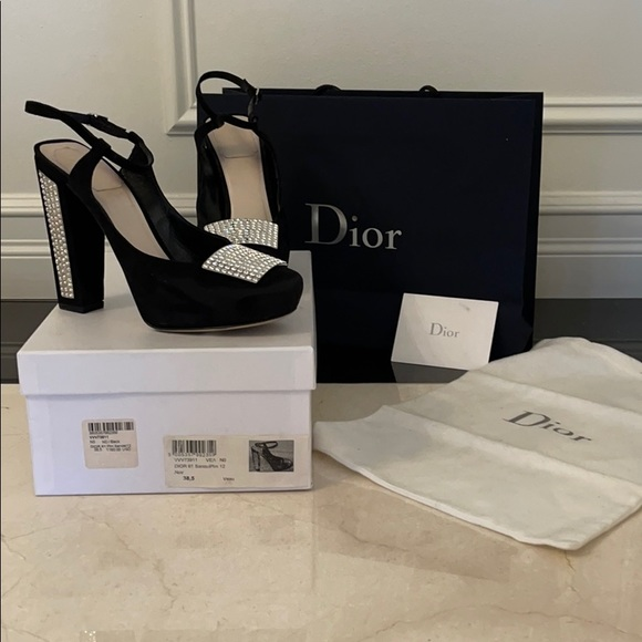 Christian Dior suede leather crystal heels